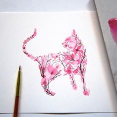 Quick floral cat  Also offering this as a tattoo! Please email info@goldenirontattoostudio.com . . . . #art #drawing #illustration #painting #artist #charcoal #beautiful #instaart #instadaily #instagood #sketch #watercolor #pink #cat #flowers