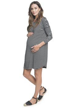 455fce63eb778 Maternity Clothing Essentials - Stripe Maternity Dress 'Perfect Timing'  Dress BAE The Label Striped