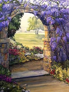 Wisteria Archway by Esther Maresso-Langlois Portal painting Garden Painting, Garden Art, Beautiful Paintings, Landscape Art, Pretty Pictures, Painting Inspiration, Beautiful Gardens, Flower Art, Watercolor Paintings