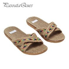 65f8ef46a5c36 Hemp Men s Shoes House Bedroom Bathroom Indoor Slippers Slides For Spring  Summer Indoor Non-slip Women Flats Pasoataques Brand
