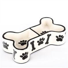 Black & White Ceramic Bone Shaped Dog Bowl - BD Luxe Dogs & Supplies
