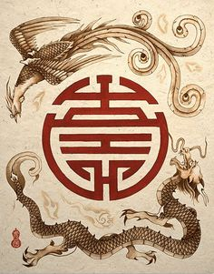 Japanese Embroidery Tiger Dragon and Phoenix Shou Symbol Asian Art Print - Yin Yang, Phoenix Art, Phoenix Dragon, Chinese Patterns, Art Asiatique, Chinese Symbols, Chinese Dragon Symbol, Marquesan Tattoos, Kunst Poster