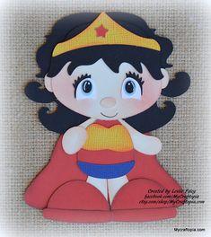 Mujer de la maravilla Super héroe Premade Scrapbooking adorno