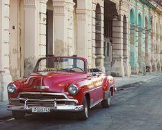 """Foto antigua de Cuba la Habana, arte de coche clásico, coche Vintage rojo, impresión del arte de la fotografía, Cuba de coche clásico, de la pared arte """"Urbano Retro"""""""