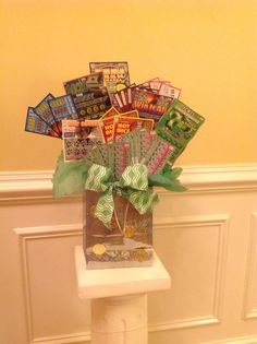Lottery Tickets pic only link goes to article Raffle Baskets, Gift Baskets, 50th Birthday, Birthday Gifts, Birthday Ideas, Birthday Wishes, Lottery Ticket Gift, Gift Card Bouquet, Silent Auction Baskets