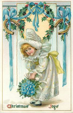 CHRISTMAS JOYS  white bonnetted girl with forget-me nots