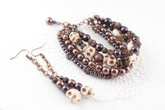 Fashion brown set bracelet and earrings with by YaNikaJewelry, $40.00