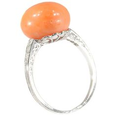 Coral Ring, Cabochon coral diamond ring platinum old mine cut diamonds .06ct French Art Deco vintage jewelry