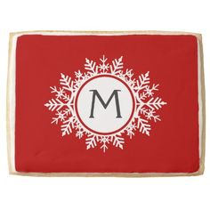 Ornate White Snowflake Monogram on Festive Red Jumbo Cookie   Visit the Zazzle Site for More: http://www.zazzle.com/?rf=238228028496470081 [Referral Link]