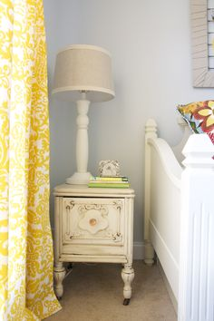 20 Chic Interior Designs With Yellow Curtains     Pale blue walls, yellow curtains, white vintage furniture  LOVE
