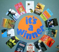 Library Displays: School Library Displays great bulletin board idea for Caldecotts and Newbery Winners Teen Library Displays, Library Themes, School Displays, Library Ideas, Library Decorations, Library Design, Library Posters, Children's Library, Library Services