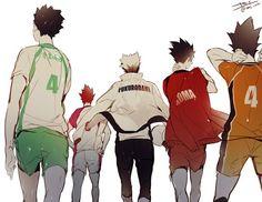 Iwaizumi, Tendo, Bokuto, Kuroo, and Nishinoya | Haikyuu!!
