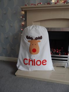 Personalised Christmas Sack - Reindeer Design - Any Name Personalized - Extra Large Santa Sack