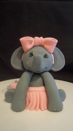 Soooo. Cute. Fondant Elephant Cake Topper by KraftyKakes on Etsy, $14.00
