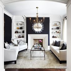 Navy living room accents and wall.