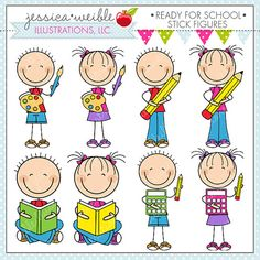 Ready for School Stick Figures clipart set comes with 8 graphics including: a boy and a girl stick figure with a pencil, a boy and a girl stick