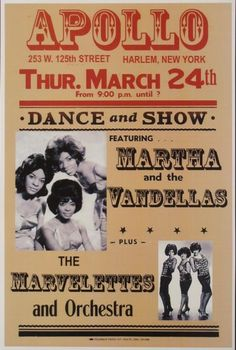 Classic Motown Concert Poster - Martha and the Vandellas plus The Marvelettes at The Apollo
