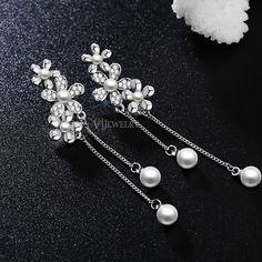 Pearl Drop Earrings, Long Dangle Earrings, Flower White Gold Earrings, Crystal Earrings, Chain Earrings, Everyday Earrings, Gift, AE0171B by AmodeJewelry on Etsy