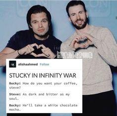 Coffee dark and bitter as my soul stucky lol meme marvel avengers characters Bucky Barnes Steve rogers