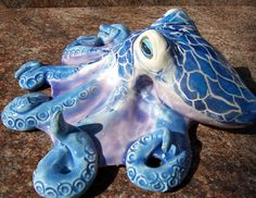 Blue Octopus by ClayCephalopods on Etsy, $30.00
