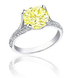 Diamond Engagement Ring 6.50 Ct Fancy Canary Yellow Round Cut 18K Gold VVS2. $90,889.66, via Etsy.
