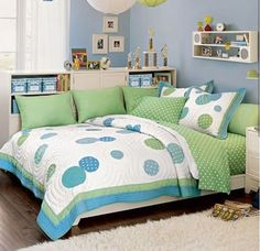 You see twin beds in the corner of rooms, but not too many full size beds. What a great use of space