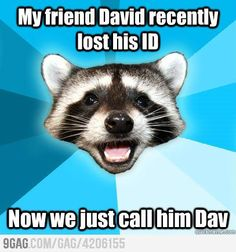 Lame Pun Coon : My friend David recently lost his ID Now we just call him Dav