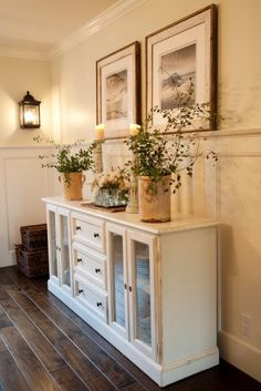 Sideboard for dining room..love this instead of having a hutch on top. and like floors and walls, lantern