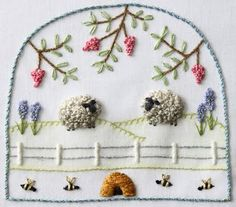 embroidery, sheep