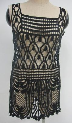 Lady-s-Crochet-Summer-tunic. looks like a flapper dress to me! Crochet Tunic, Crochet Jacket, Irish Crochet, Crochet Clothes, Crochet Dresses, Crochet Tops, Summer Tunics, Summer Sweaters, Bruges Lace