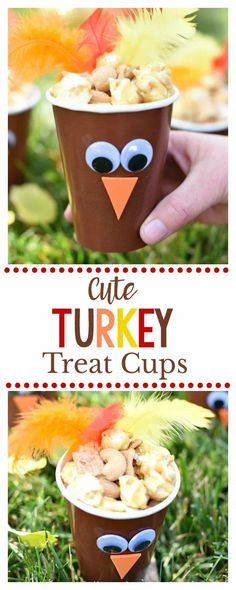 Cute Turkey Cups for Thanksgiving-Make these cute little Thanksgiving turkeys to put on the kids' table at Thanksgiving! Fill it with a fun snack while they wait for the turkey to cook. #thanksgiving #thanskgivingtable #thanksgivingcrafts Thanksgiving Snacks, Thanksgiving Crafts For Kids, Thanksgiving Traditions, Thanksgiving Centerpieces, Holiday Crafts, Football Thanksgiving, Kindergarten Thanksgiving, Christmas Snacks, Thanksgiving Holiday