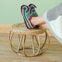 Round Hyacinth Ottoman  Woven water hyacinth tops a curving rattan frame in this sturdy, all-natural ottoman/plant stand. #fairtrade www.serrv.org