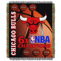 """Chicago Bulls NBA 6X Commemorative Woven Tapestry Throw Blanket by Northwest (48x60"""")"""""""
