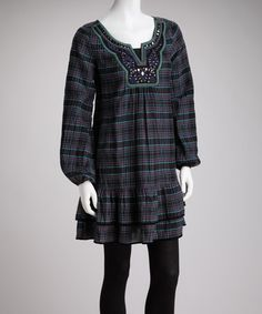 Take a look at this Gray & Purple Plaid Dress by Young Threads on #zulily today!