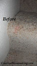 To remove red stains from carpet, mix a solution of 1/2 ammonia and 1/2 water in a spray bottle; spray the stain, lay a cloth on top and apply heat from an iron; repeat until stain is gone.