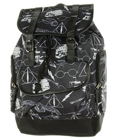 Harry Potter Symbols Black Large Slouch Backpack