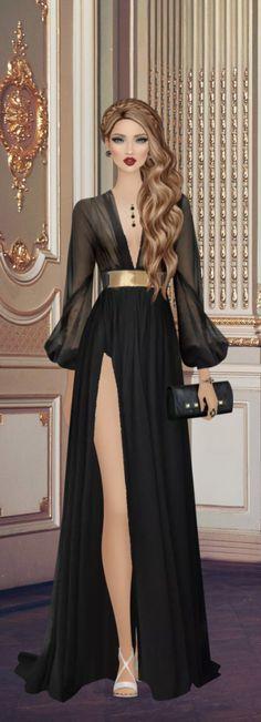 Little Black Dress Outfit, Black Dress Outfits, Fashion Illustration Dresses, Fashion Sketches, Fashion Dolls, Fashion Dresses, Award Show Dresses, Barbie Mode, Covet Fashion Games