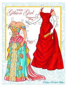 Gibson Girl Paper Doll por PaperDollsbyERMiller en Etsy ...........•❤° Nims °❤•