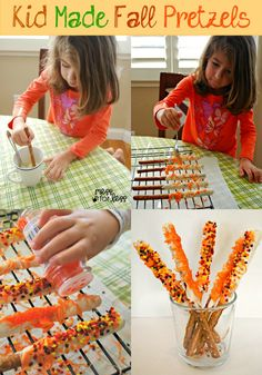 Fall Snack - Hand Dipped Fall Pretzels