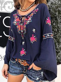 Women Casual Loose Printed Bohemian Butterfly Top Blouse - All About Maxi Outfits, Fashion Outfits, Bohemian Blouses, Bohemian Tops, Butterfly Top, Maxi Gowns, Look Vintage, Types Of Sleeves, Blouses For Women