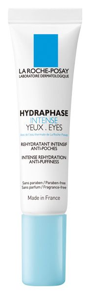 La Roche-Posay Hydraphase INTENSE Eyes    Contains caffine to firm and hyaluronic acid to moisturize.