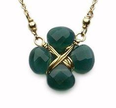 Lucky Clover Emerald Onyx Wrapped Necklace