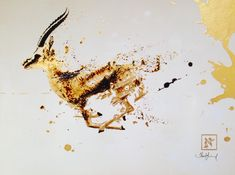 Ink and gold leaf painting of a gazelle