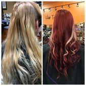 Burgundy red hair Blonde peekaboo highlights before & after - Modern Blonde Hair Boy, Balayage Hair Blonde Medium, Hair Color Balayage, Burgundy Red Hair, Burgendy Hair, Blonde Peekaboo Highlights, Hair Highlights, Pink Haircut, Hair Caramel