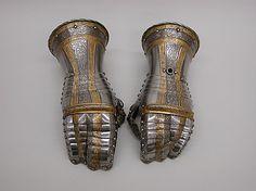 Gauntlets Belonging to an Armor of Philip II of Spain  Desiderius Helmschmid (German, Augsburg, 1513–1579)