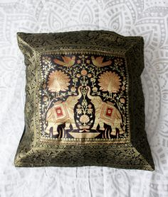 These Beautiful Bohemian Decorative Pillow Covers are gorgeous to accent with your Lady Scorpio Mandalas, or even add to your current home decor! Glam Pillows, Throw Pillows, Indian Tapestry, Silk Brocade, Decorative Pillow Covers, Hippie Boho, Bohemian, Pillow Cases, Elephant