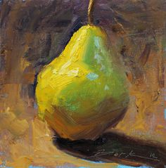 Green Pear 8x8 FREE Shipping (framed art) original still life oil painting impressionism. $68.00, via Etsy.