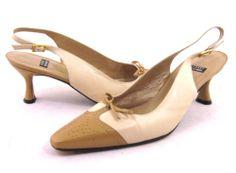 Stuart Weitzman Pointed Toe Slingback Tan Beige Ankle Strap 7.5 Heels Pumps