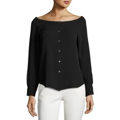 Theory Auriana Off-the-Shoulder Georgette Shirt ($265) ❤ liked on Polyvore featuring tops, black, women's apparel tops, button front shirt, shirt top, off shoulder long sleeve top, georgette tops and button front top