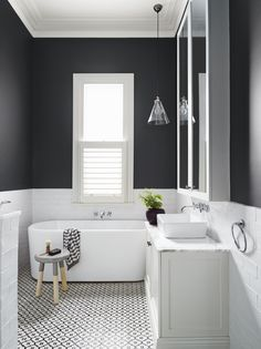 Love the lay out. Bath under window. The colors. Vanity. Light fitting. Everything! Black and white modern minimalist bathroom.